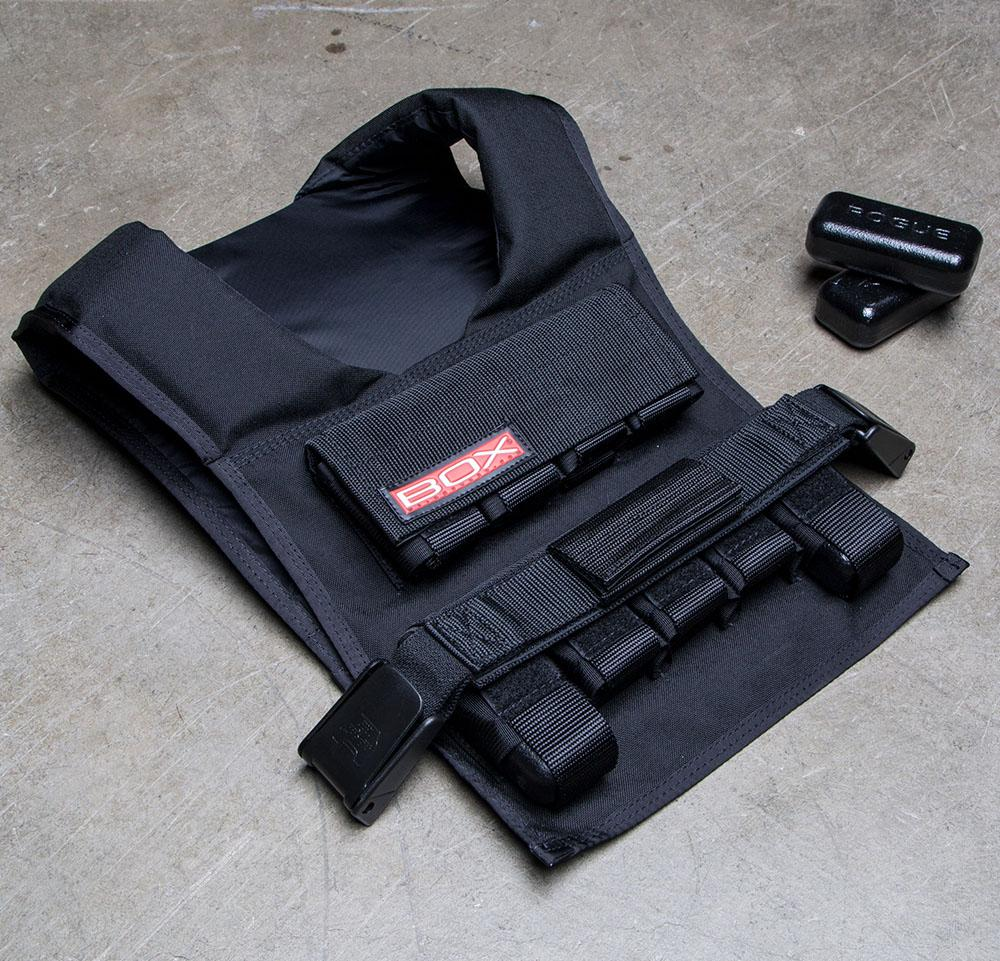 weighted vest laying on floor